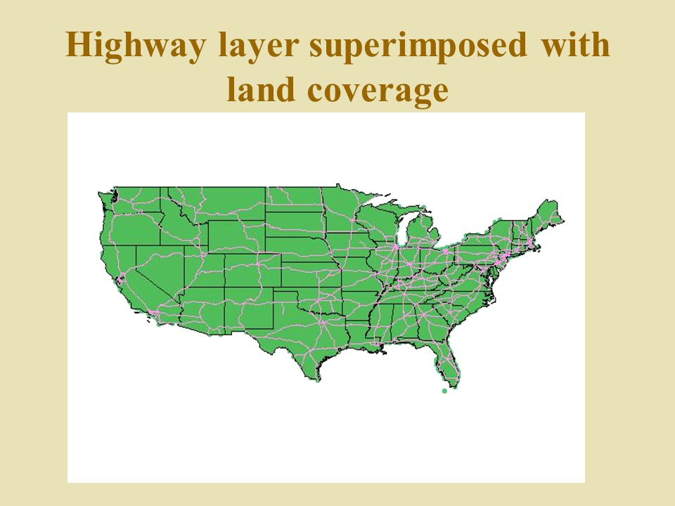Highway layer superimposed with land coverage
