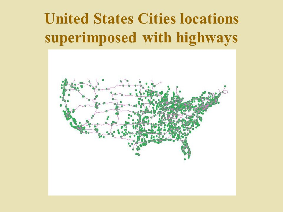 United States Cities locations superimposed with highways