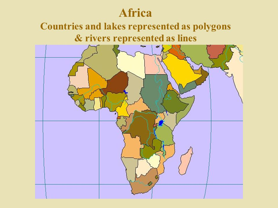 Africa Countries and lakes represented as polygons & rivers represented as lines