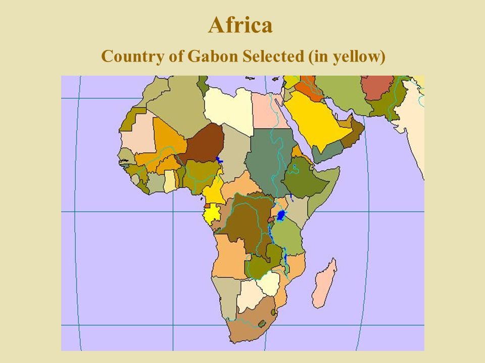 Africa Country of Gabon Selected (in yellow)