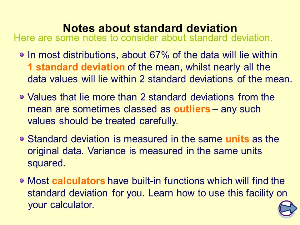 Notes about standard deviation
