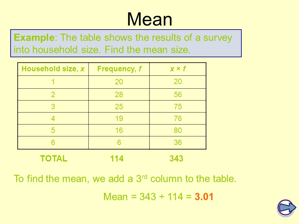 Mean Example: The table shows the results of a survey into household size. Find the mean size. Household size, x.