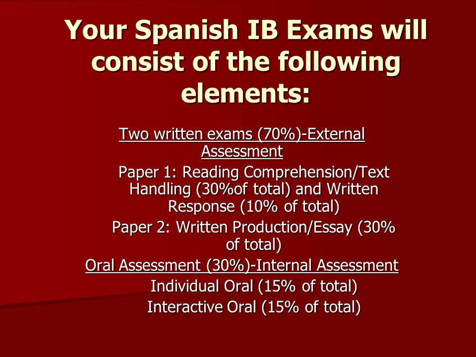 Your Spanish IB Exams will consist of the following elements: