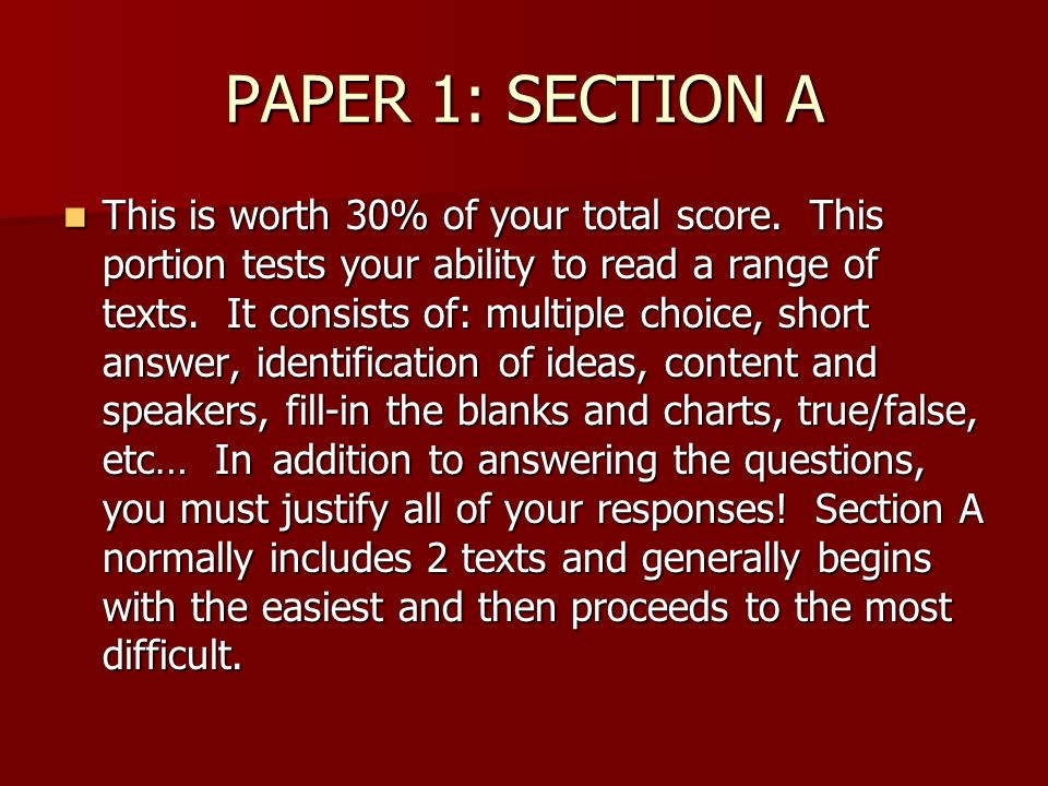 PAPER 1: SECTION A