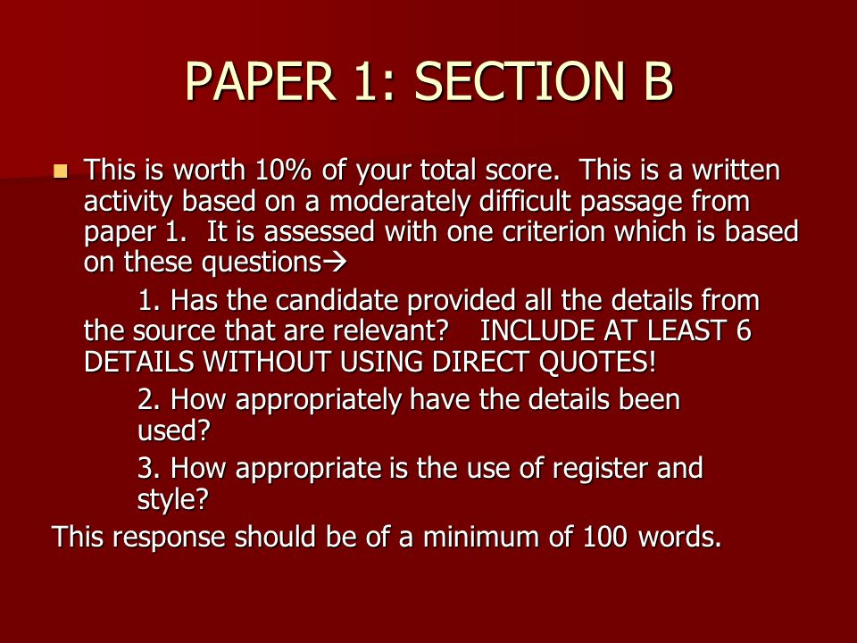 PAPER 1: SECTION B