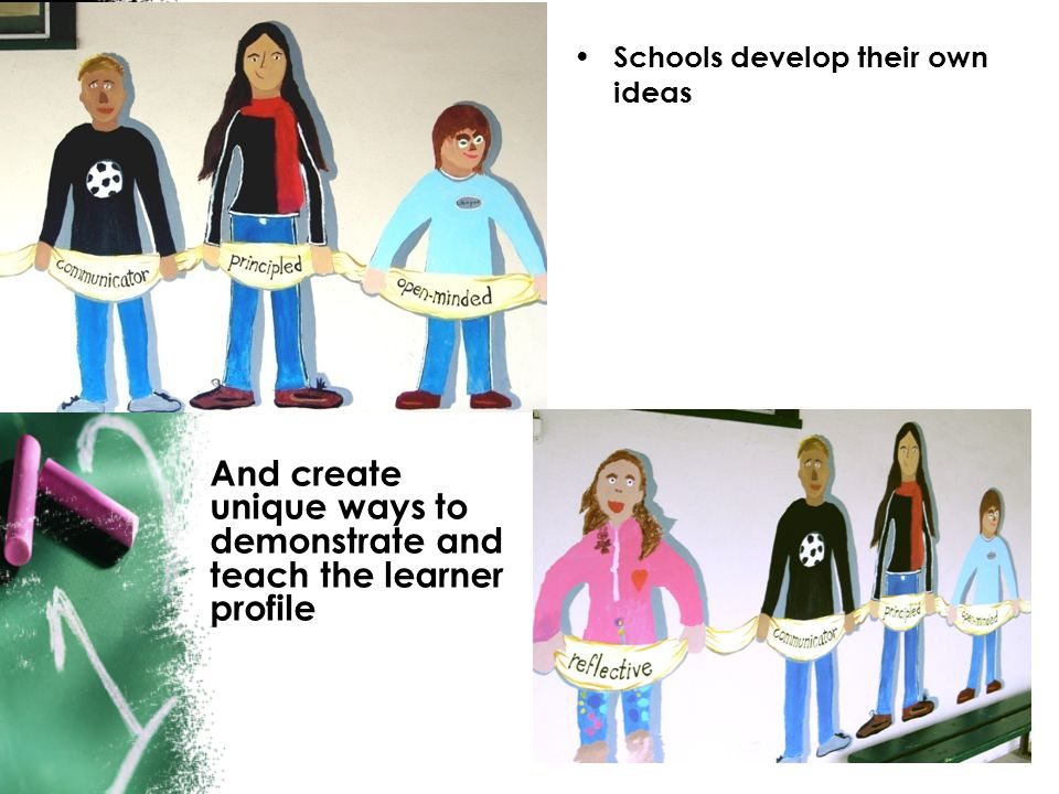And create unique ways to demonstrate and teach the learner profile
