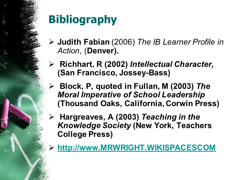 Bibliography Judith Fabian (2006) The IB Learner Profile in Action, (Denver).