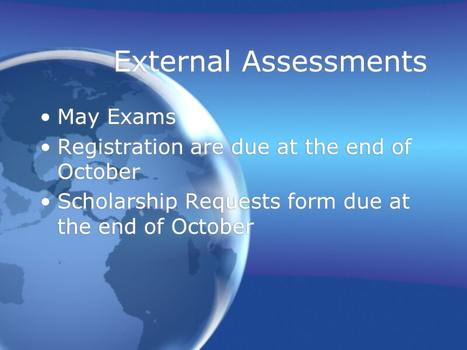 External Assessments May Exams