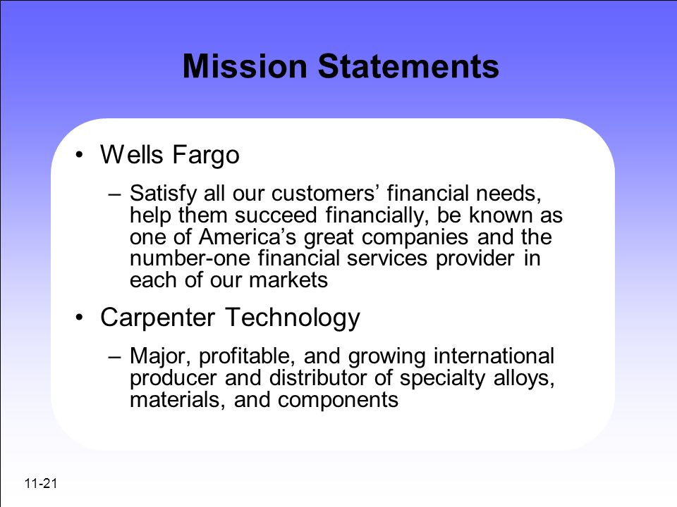 Mission Statements Wells Fargo Carpenter Technology