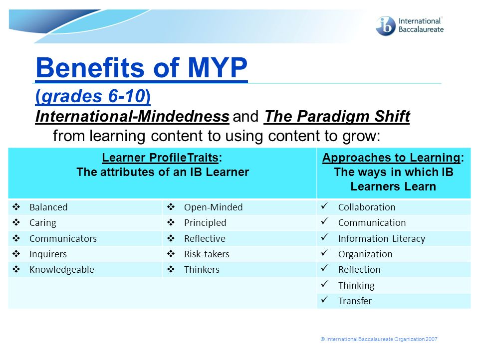 Benefits of MYP (grades 6-10)