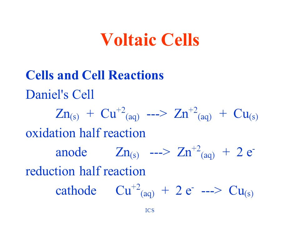 Voltaic Cells Cells and Cell Reactions Daniel s Cell
