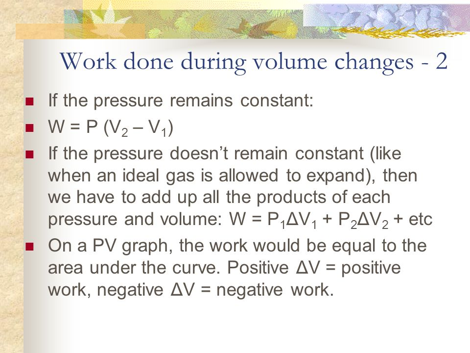 Work done during volume changes - 2