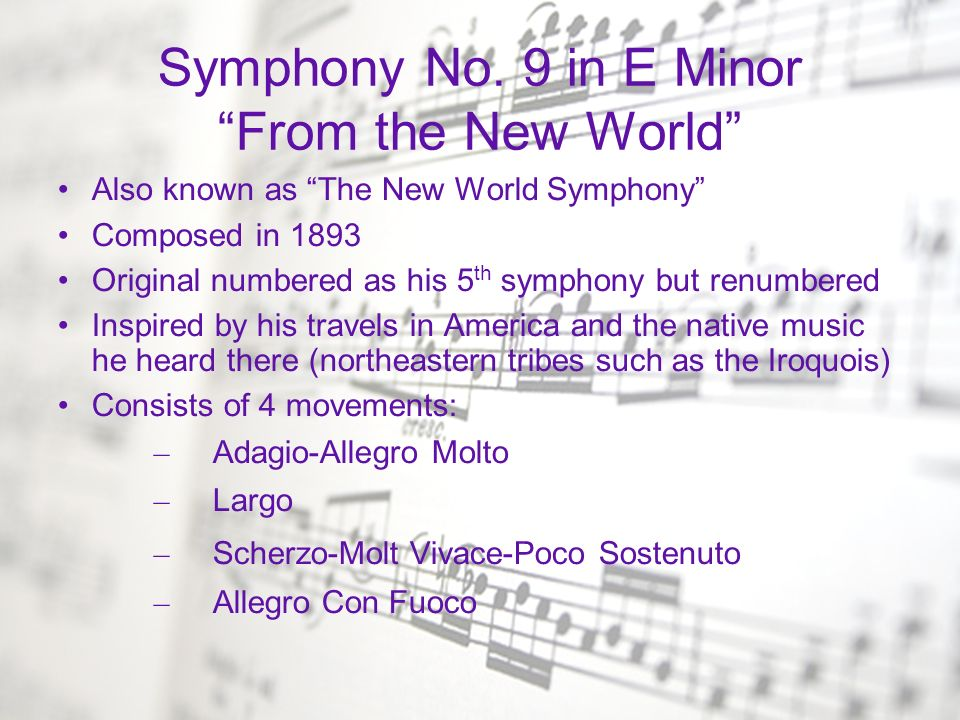 Symphony No. 9 in E Minor From the New World
