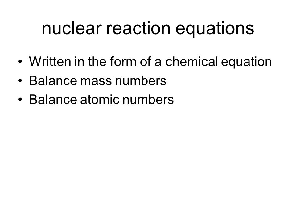 nuclear reaction equations