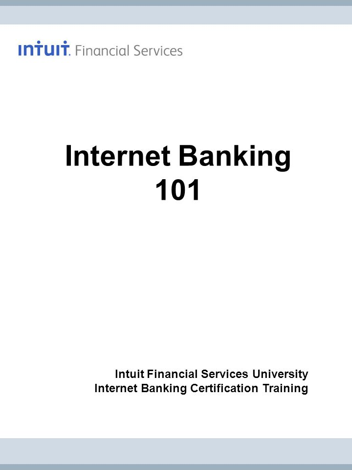Internet Banking 101 Intuit Financial Services University
