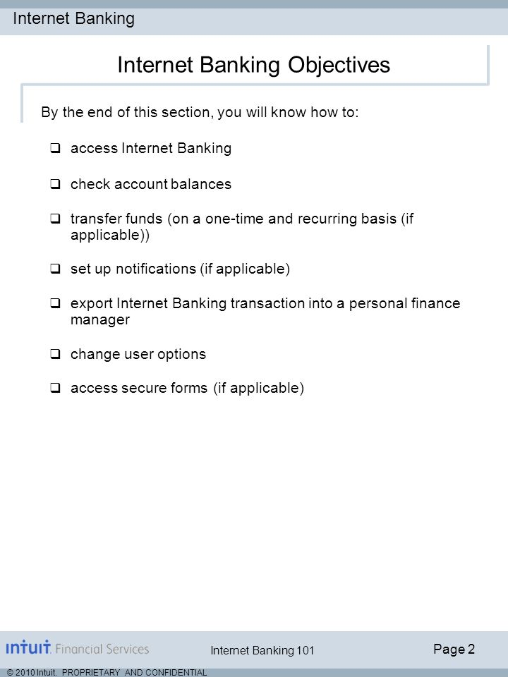 Internet Banking Objectives
