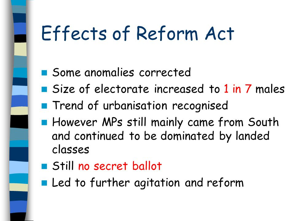 Effects of Reform Act Some anomalies corrected