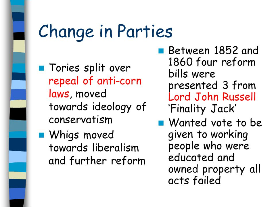 Change in Parties Between 1852 and 1860 four reform bills were presented 3 from Lord John Russell 'Finality Jack'