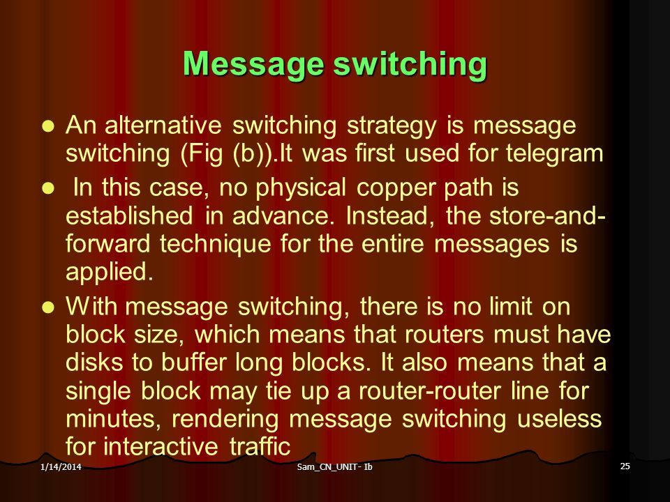 Message switching An alternative switching strategy is message switching (Fig (b)).It was first used for telegram.