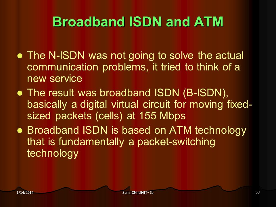 Broadband ISDN and ATM The N-ISDN was not going to solve the actual communication problems, it tried to think of a new service.