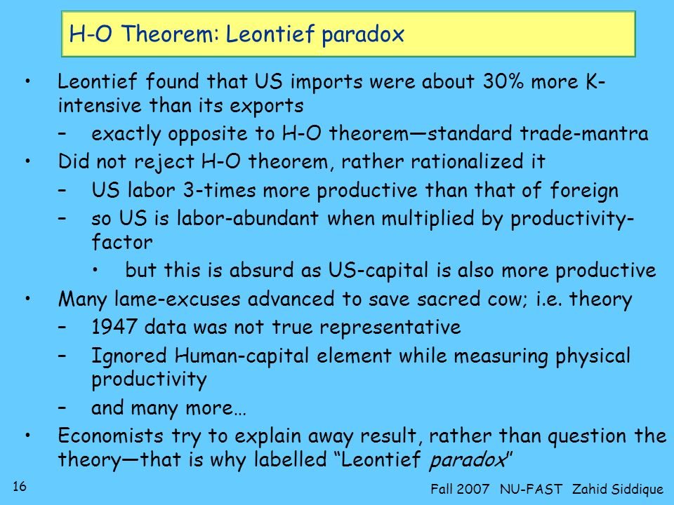 H-O Theorem: Leontief paradox