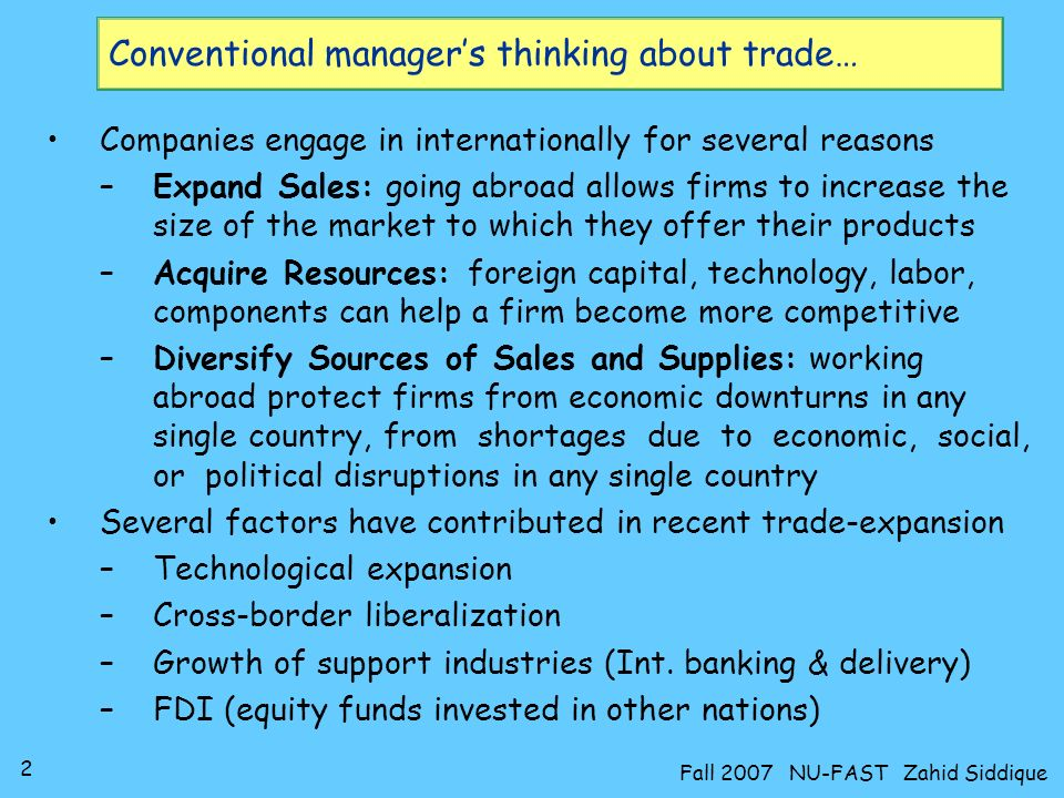 Conventional manager's thinking about trade…