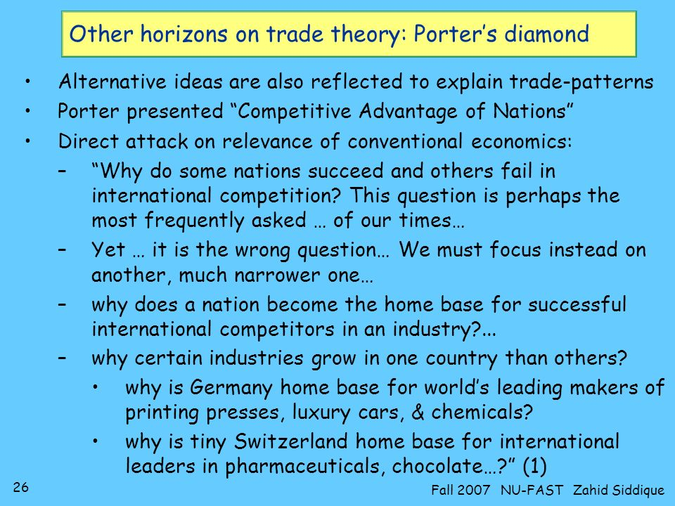 Other horizons on trade theory: Porter's diamond