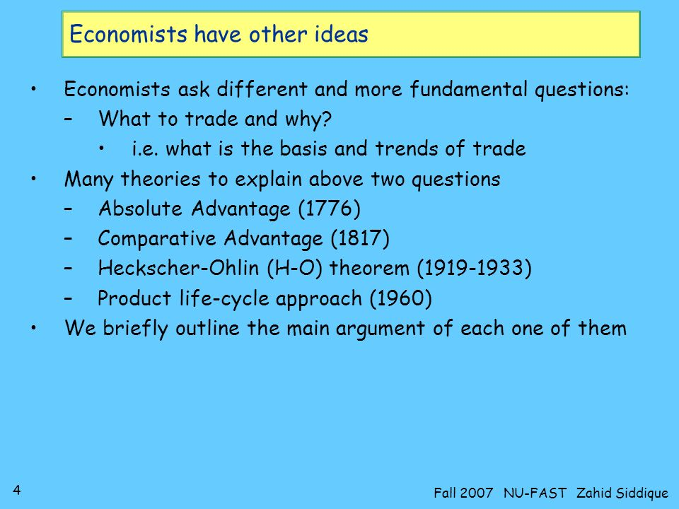 Economists have other ideas