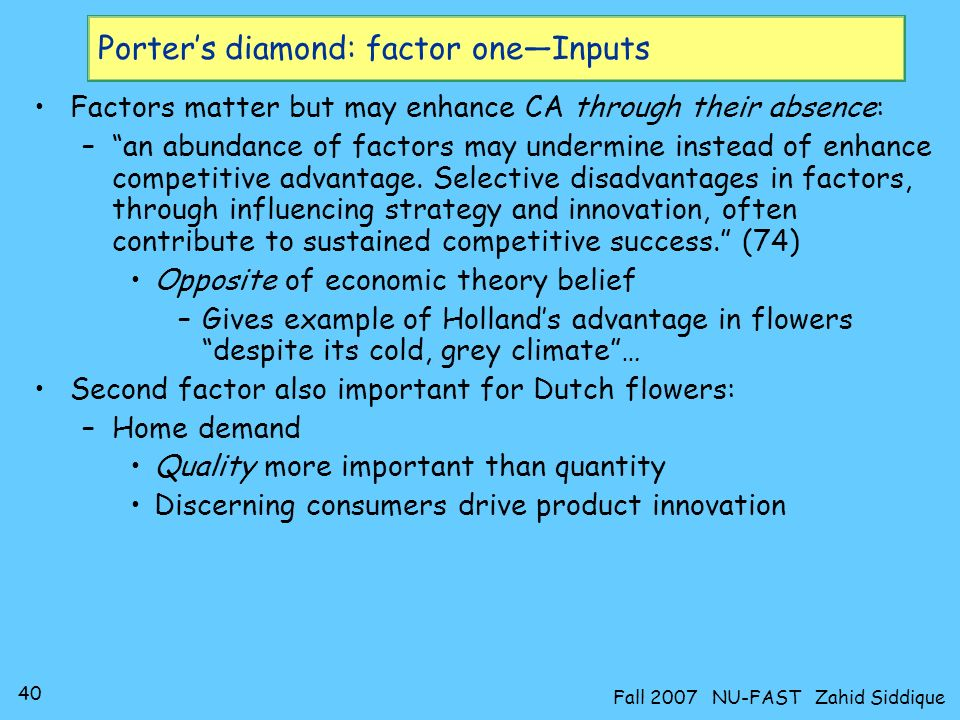 Porter's diamond: factor one—Inputs