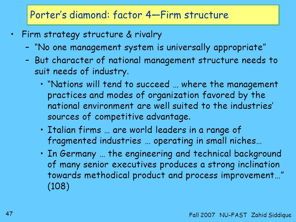 Porter's diamond: factor 4—Firm structure