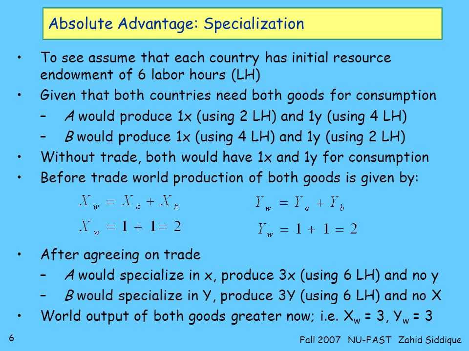 Absolute Advantage: Specialization
