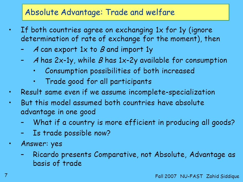 Absolute Advantage: Trade and welfare