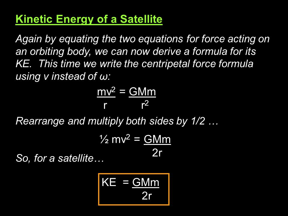 Kinetic Energy of a Satellite
