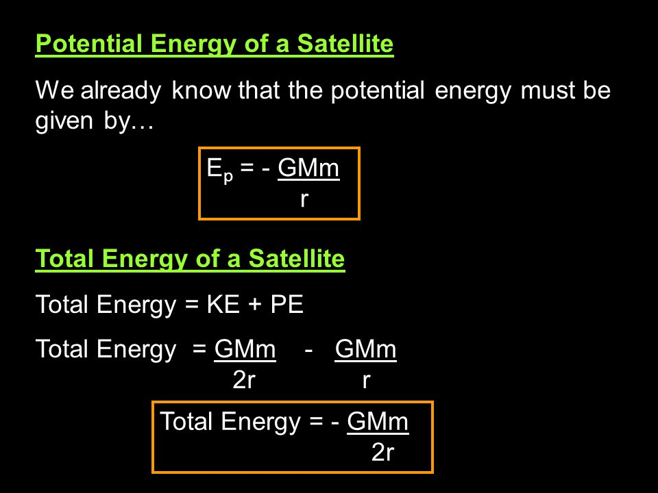 Potential Energy of a Satellite