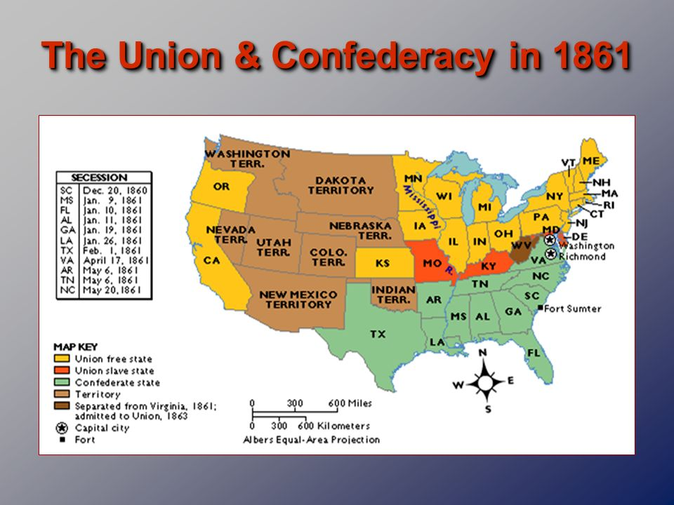 The Union & Confederacy in 1861