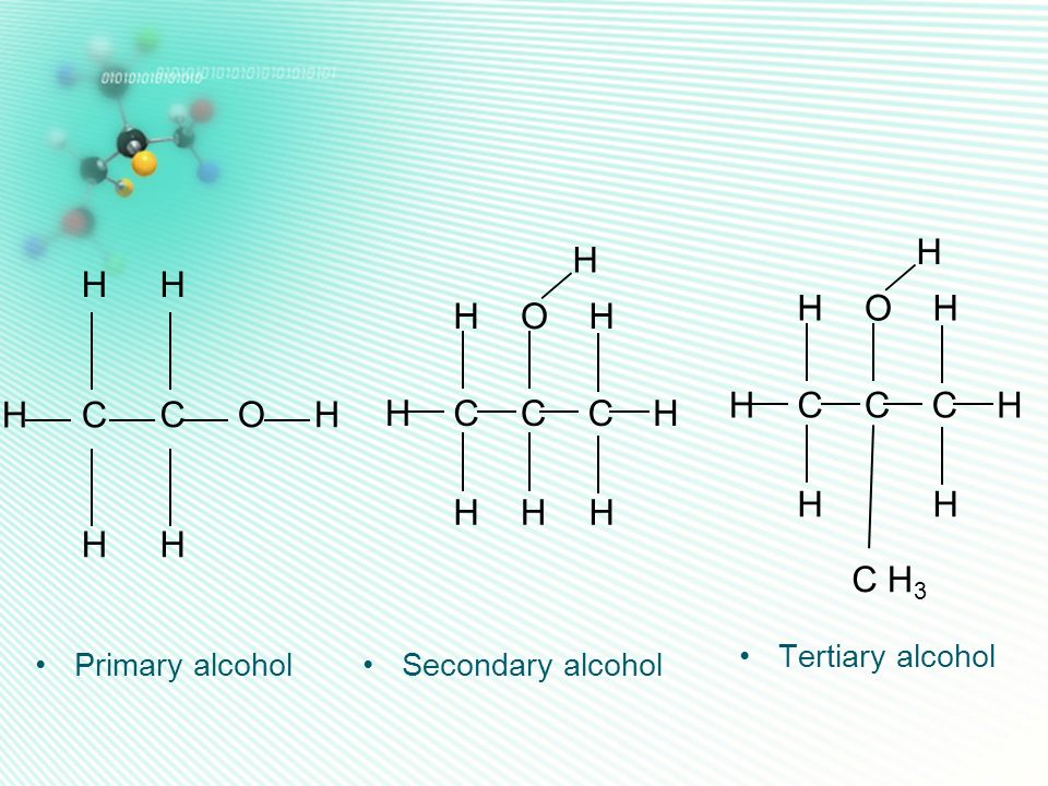 C H O H3 C H O C H O Tertiary alcohol Primary alcohol
