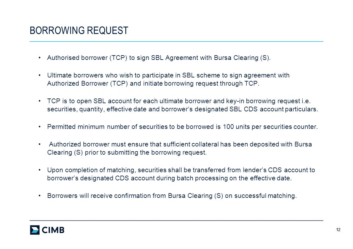 BORROWING REQUEST Authorised borrower (TCP) to sign SBL Agreement with Bursa Clearing (S).
