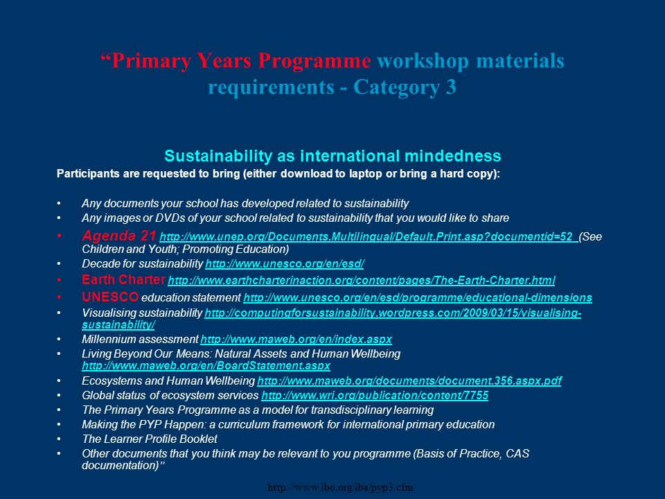 Primary Years Programme workshop materials requirements - Category 3