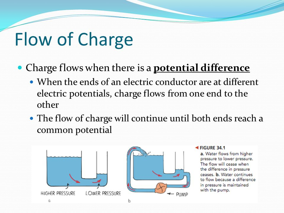 Flow of Charge Charge flows when there is a potential difference