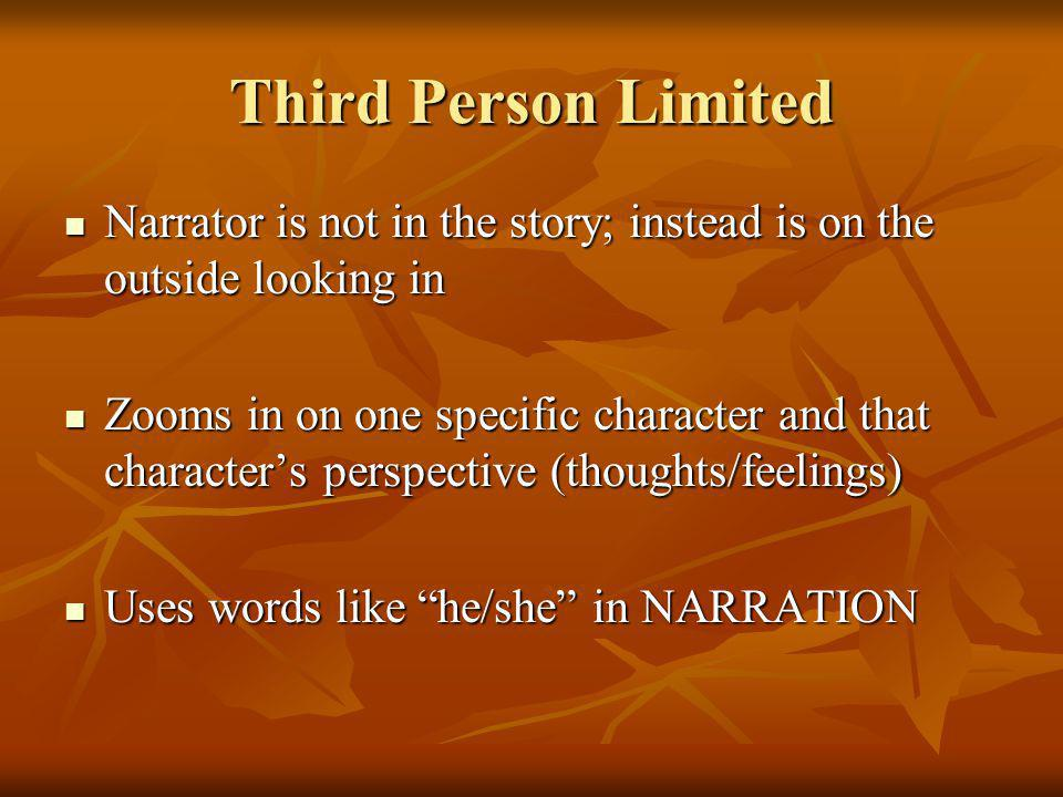 Third Person Limited Narrator is not in the story; instead is on the outside looking in.