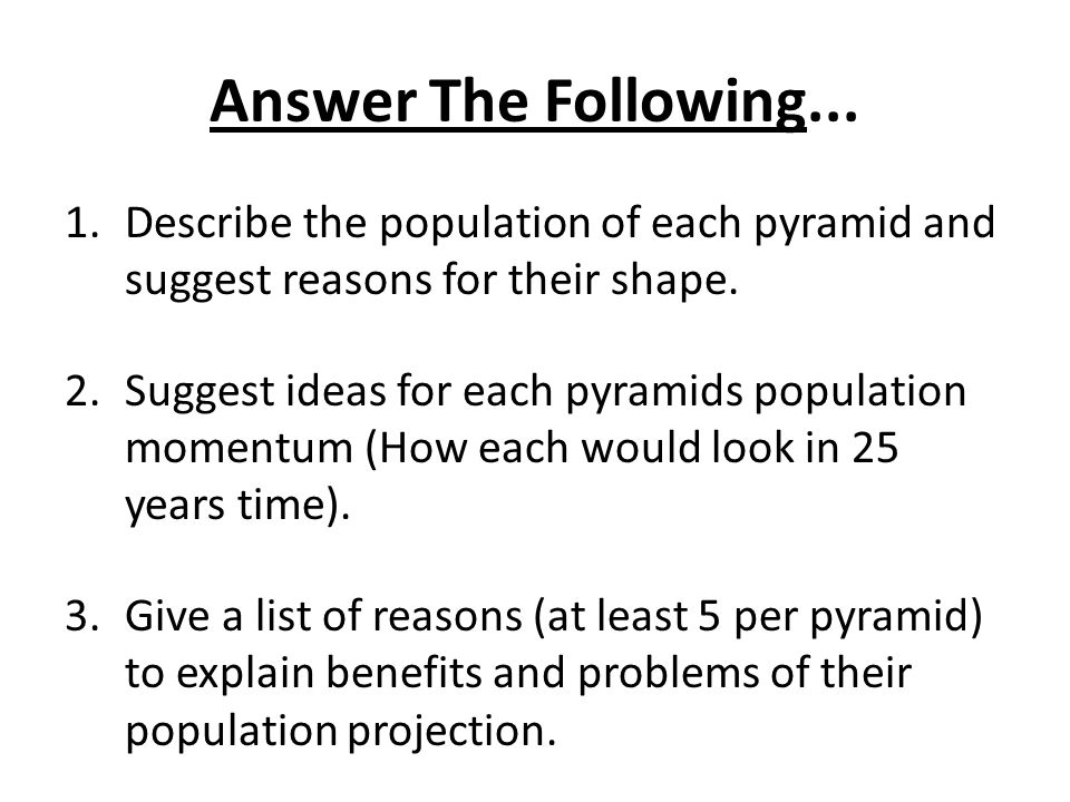 Answer The Following... Describe the population of each pyramid and suggest reasons for their shape.