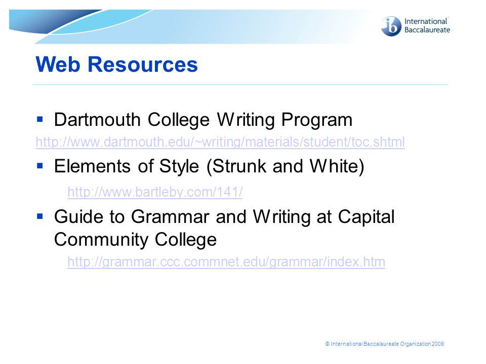 Web Resources Dartmouth College Writing Program