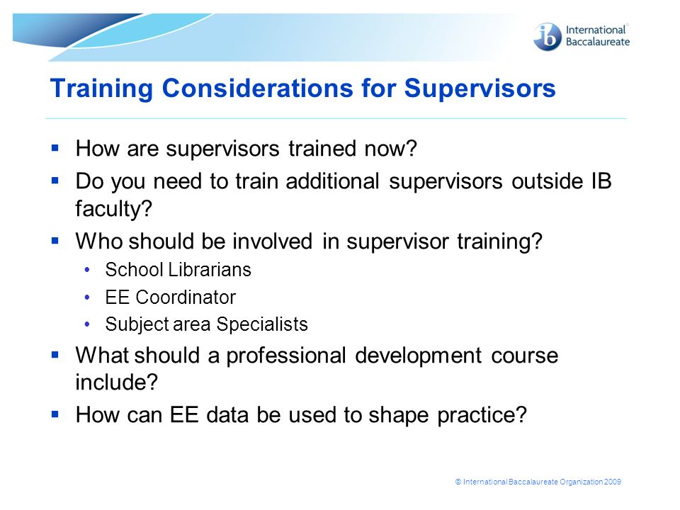 Training Considerations for Supervisors