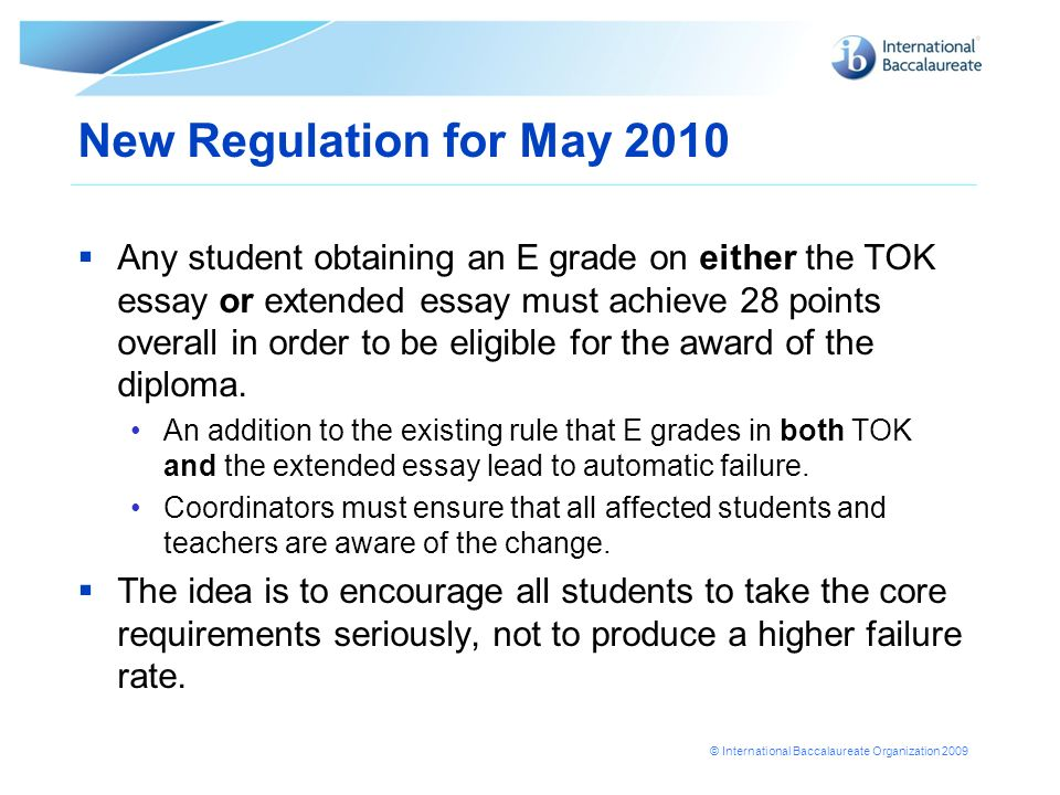 New Regulation for May 2010