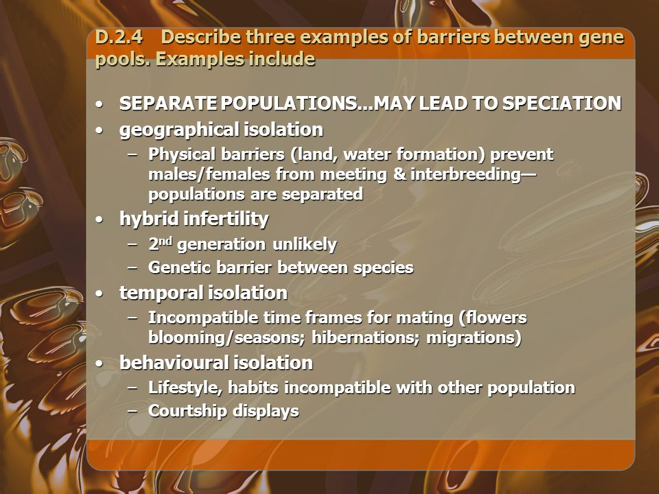 SEPARATE POPULATIONS...MAY LEAD TO SPECIATION geographical isolation