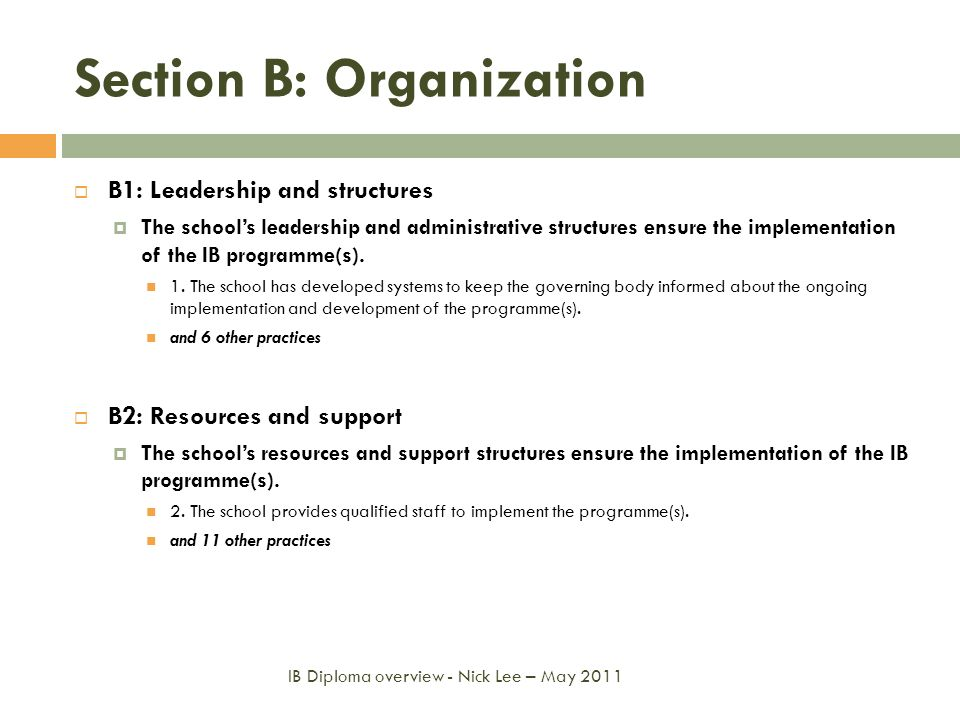 Section B: Organization