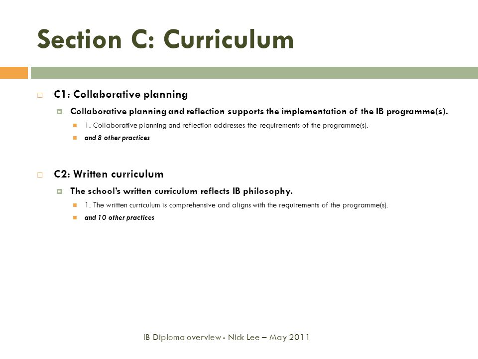 Section C: Curriculum C1: Collaborative planning