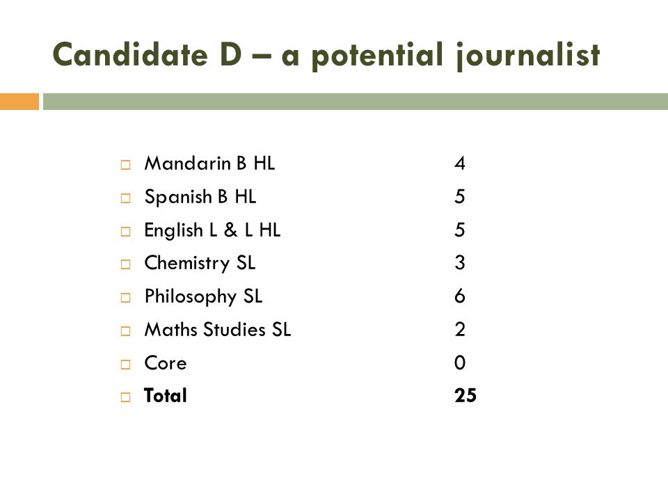 Candidate D – a potential journalist