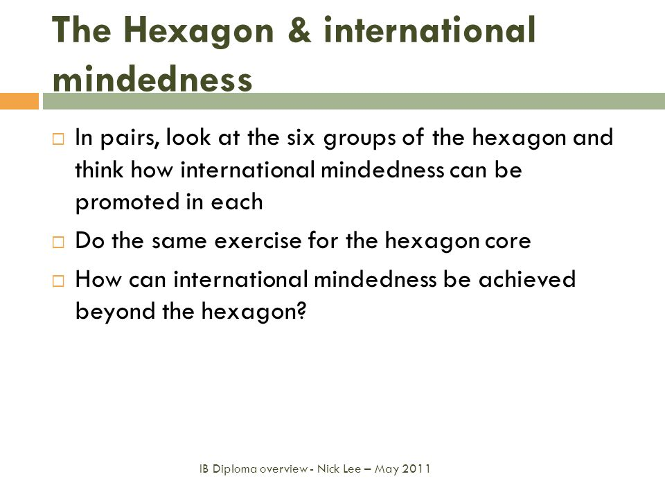The Hexagon & international mindedness