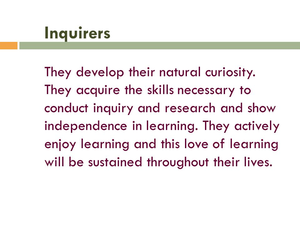 Inquirers They develop their natural curiosity